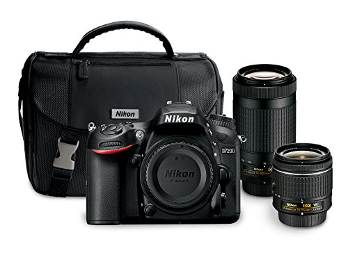 "nikon d7200 242 mp dual zoom lens kit with 32 lcd black - Nikon D7200 24.2 MP Dual Zoom Lens Kit with 3.2"" LCD, Black"