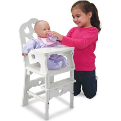 Melissa and Doug Wooden Doll High Chair, Multicolor