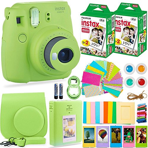 FujiFilm Instax Mini 9 Instant Camera + Fuji Instax Film (40 Sheets) + Bundle – Carrying Case, Color Filters, Photo Album, Stickers, Selfie Lens + MORE(Lime Green)