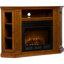 Claremont Media Console and Electric Fireplace, Brown