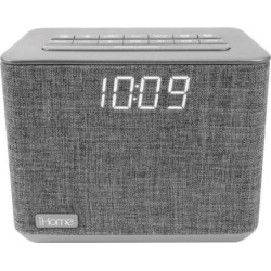 iHome Bluetooth Dual Alarm FM Clock Radio with Speakerphone & USB Charging (iBT232), Grey