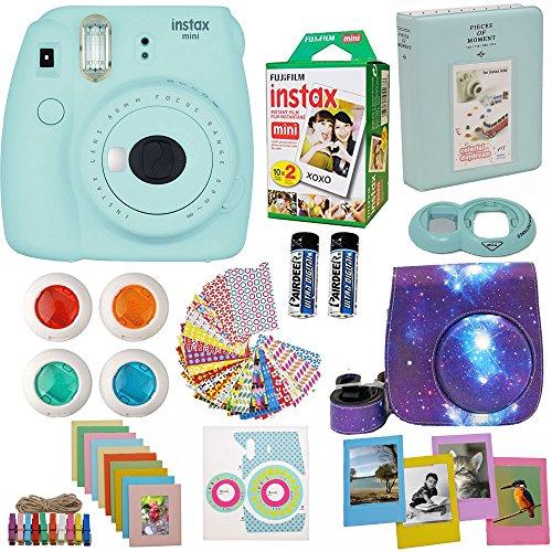 Fujifilm Instax Mini 9 Camera Ice Blue (USA) + Accessories kit for Fujifilm Instax Mini 9 Camera Includes Instant camera + Fuji Instax Film (20 PK) Galaxy Case + Frames + Selfie lens + Album And More