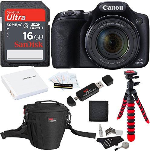 Canon PowerShot SX530 HS + SDHC 32GB + Tripod + Ritz Gear Bag + Battery + Ritz Gear Card Reader + Cleaning Kit + Screen Protector + Polaroid Memory Card Wallet