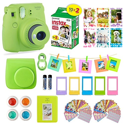 fujifilm instax mini 9 film camera lime instant camera 20 instant fuji film - Fujifilm Instax Mini 9 Film Camera LIME Instant Camera + 20 Instant Fuji-Film Shots, Instax Case + 14 PC Instax Accessories Bundle, Fuji Mini 9 Kit Gift, 2 Albums, Lenses, Magnets Frames by Shutter