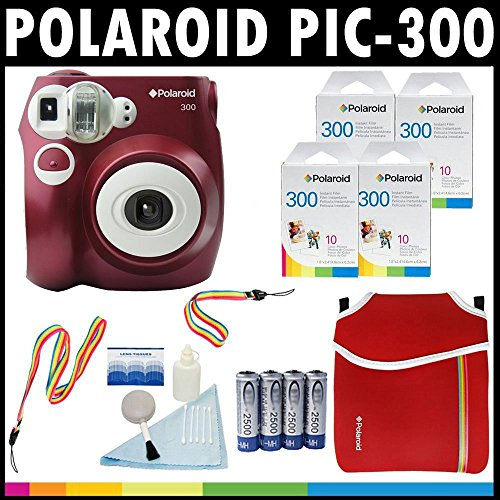 Polaroid PIC-300 Instant Film Analog Camera (Red) with (4) Polaroid 300 Instant Film Packs of 10 + Polaroid Neoprene Pouch + Polaroid Cleaning Kit + Neck & Wrist Strap + (4) AA Batteries & Charger