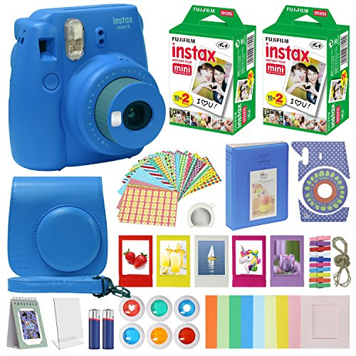 Fujifilm Instax Mini 9 Instant Camera Cobalt Blue with Carrying Case + Fuji Instax Film Value Pack (40 sheets) Accessories Bundle, Color Filters, Photo Album, Assorted Frames, Selfie Lens + More