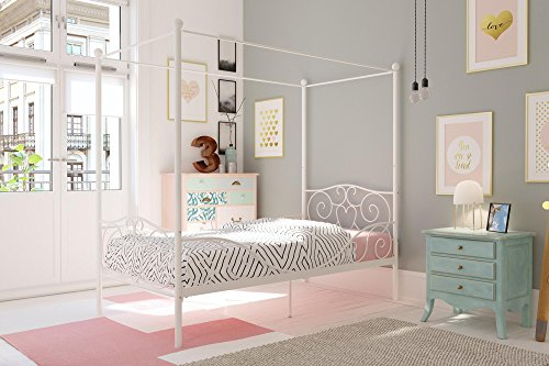 dhp canopy bed with sturdy bed frame metal twin size white - DHP Canopy Bed with Sturdy Bed Frame, Metal, Twin Size - White