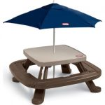 outdoor little tikes fold n store picnic table with market umbrella clrs 150x150 - DHP Canopy Bed with Sturdy Bed Frame, Metal, Twin Size - White