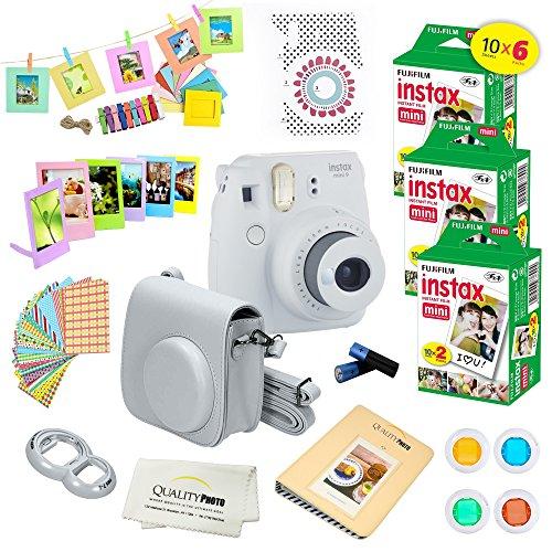 Fujifilm Instax Mini 9 Instant Camera SMOKEY WHITE w/ Fujifilm Instax Mini 9 Instant Films (60 Pack) + A14 Pc Deluxe Bundle For Fujifilm Instax Mini 9 Camera