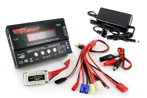 Tenergy TB6-B Balance Charger Discharger 1S-6S Digital Battery Pack Charger for NiMH/NiCD/Li-PO/Li-Fe Packs w/ LCD Display Hobby Battery Charger w/ Tamiya/JST/EC3/HiTec/Deans Connectors + Power Supply