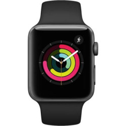 apple watch series 3 gps 42mm space gray aluminum case with black sport band - Apple Watch Series 3 (GPS) 42mm Space Gray Aluminum Case with Black Sport Band
