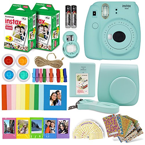 Fujifilm Instax Mini 9 Instant Camera + Fuji INSTAX Polaroid Film (40 Sheets) + Accessories Bundle – Carrying Case, Photo Album, Assorted Frames, Colorful Sticker Frames (EMOJI) & MORE (Ice blue)