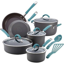 Rachael Ray Cucina 12 piece Hard Anodized Cookware Set – Blue, Agave Blue