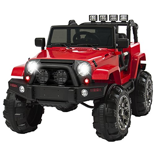 best choice products 12v ride on car truck w remote control 3 speeds - Best Choice Products 12V Ride On Car Truck w/ Remote Control, 3 Speeds, Spring Suspension, LED Light - Red