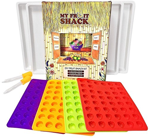 my fruit shack diy fruit snacks kit 4 bpa free lfgbfda grade silicone - My Fruit Shack DIY Fruit Snacks Kit - 4 BPA-Free LFGB/FDA Grade Silicone Molds (Makes 184 Gummies Total), 4 Plastic Trays, 2 Droppers and 1 Basic Recipe Page
