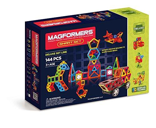 magformers smart set 144 piece deluxe building set magnetic building - Magformers Smart Set (144-piece ), Deluxe Building Set. magnetic building blocks, educational magnetic tiles, magnetic building STEM toy set