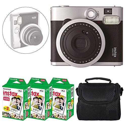 Fujifilm INSTAX Mini 90 Neo Classic Instant Camera (Black) + Fujifilm Instax Mini Instant Film (60 Exposures) + Camera Case – Deluxe Accessory Bundle