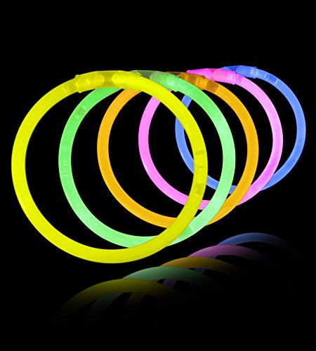 Lumistick 100 Count 8″ Assorted Colors Glow Sticks with Connectors to make Glow Necklaces and Bracelets – Bulk Neon Glow In The Dark Party Glowsticks (3000 pack, Assorted)