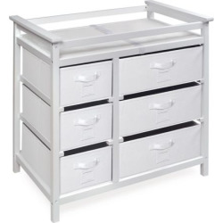 badger basket modern baby changing table with six baskets grey - Badger Basket Modern Baby Changing Table with Six Baskets, Grey
