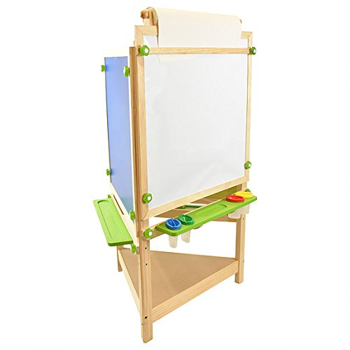 Little Partners Tri-Side Art Easel – Chalkboard, Felt & Dry Erase Board w/ Paper Feeder – 3-Sided Art Supplies & Activities Station for Toddlers to Paint, Learn & Have Fun