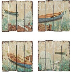 Mdf Wall Decor Lake Image – Set of 4 – 3R Studios, Ivory