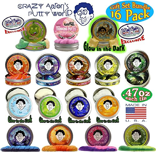 """Crazy Aaron's Thinking Putty Mini Tins Complete Gift Set Bundle Featuring Hypercolor, Glow in the Dark, Super Illusion, Electric Color, Scented, Exclusive """"Lizard Lips"""" & """"Scorpion Skin"""" – 16 Pack"""