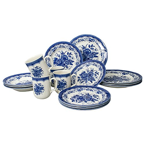 tudor 16 piece porcelain dinnerware set service for 4 victoria blue 10 - Tudor 16-Piece Porcelain Dinnerware Set, Service for 4 - VICTORIA BLUE, 10 Designs Inside!