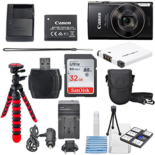 Canon PowerShot ELPH 360 HS(Black)with 12x Optical Zoom and Built-In Wi-Fi with Deluxe Starter Kit Including 32GB SDHC Flexible Tripod + AC/DC Travel Charger + Extra battery + Protective Camera Case