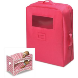badger basket double doll travel case with bunk bed pink - Badger Basket Double Doll Travel Case with Bunk Bed, Pink