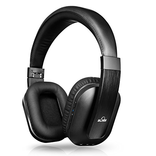 ivid active noise cancelling headphones ideausa bluetooth headphones with - iVid Active Noise Cancelling Headphones, iDeaUSA Bluetooth Headphones with Microphone apt-X HiFi Stereo Sound Headphones for TV, Airplane, 25 Hours Playback - Black