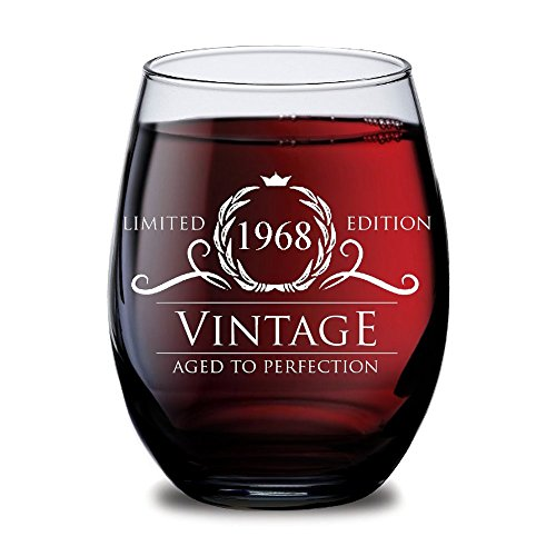 1968 50th Birthday Gifts For Women And Men Wine Glass