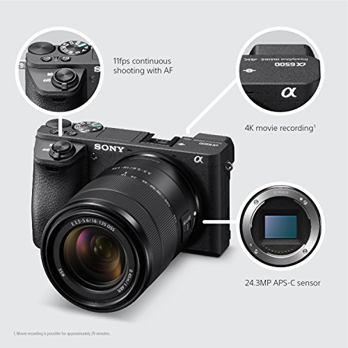 Sony a6500 Mirrorless Camera with 18-135mm Lens with LCD, 3″, Black