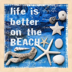 """Metaverse Art """"Life is Better on the Beach"""" Framed Wall Art, Multicolor"""