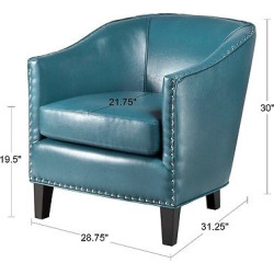 Fremont Shaped Barrel Armchair – Peacock Blue, Peacock Green