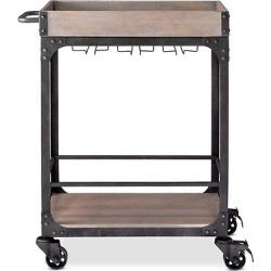 Franklin Bar Cart and Wine Rack- Weathered Gray- Threshold, Brown Gray