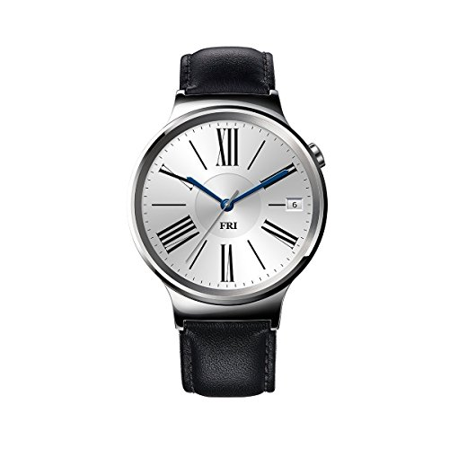 huawei watch stainless steel with black suture leather strap us warranty - Huawei Watch Stainless Steel with Black Suture Leather Strap (U.S. Warranty)
