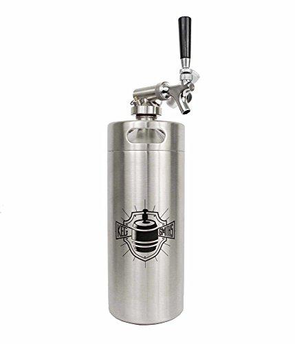 Keg Smiths 128 oz Portable Draft Keg System   CO2 Regulated   Stainless Steel Keg   8 Pint   Mini Keg Draft System