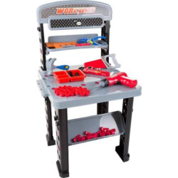 Pretend Play 75-Piece Tool Set & Adjustable Workbench by Hey! Play!, Multicolor