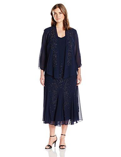 R&M Richards Women's Plus Size Beaded Chiffon Jacket Dress, Navy, 22W