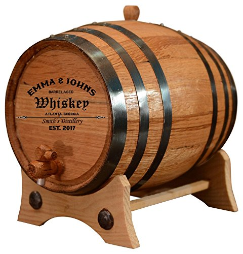 Personalized – Customized American White Oak Aging Barrel – Barrel Aged (10 Liters, Black Hoops)