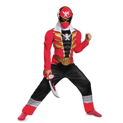 Disguise Saban Super MegaForce Power Rangers Red Ranger Classic Muscle Boys Costume, Medium/7-8