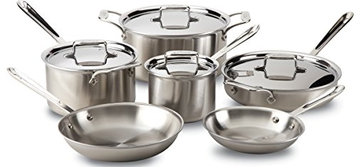 all clad bd005710 r d5 brushed 1810 stainless steel 5 ply bonded dishwasher - All-Clad BD005710-R D5 Brushed 18/10 Stainless Steel 5-Ply Bonded Dishwasher Safe Cookware Set, 10-Piece, Silver