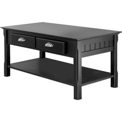 timer coffee table drawers and shelf black winsome - Timer Coffee Table, Drawers and Shelf - Black - Winsome