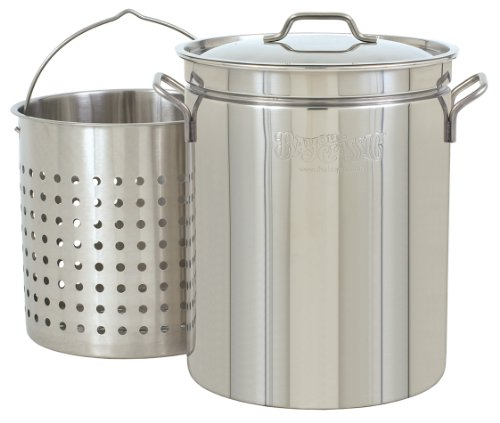 bayou classic 1160 62 quart all purpose stainless steel stockpot with steam - Bayou Classic 1160 62-Quart All Purpose Stainless Steel Stockpot with Steam and Boil Basket