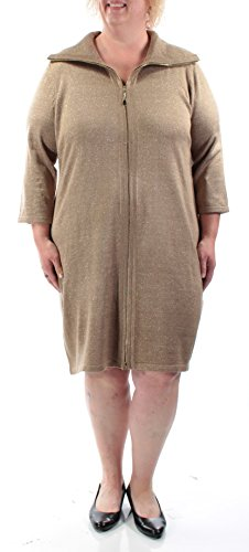 Calvin Klein Women's Plus-Size Elbow Sleeve Zip Front Sweater Dress, Taupe/Gold, 3X