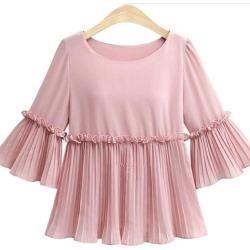 Simple Mid-Sleeve Plus-Size Chiffon Shirt