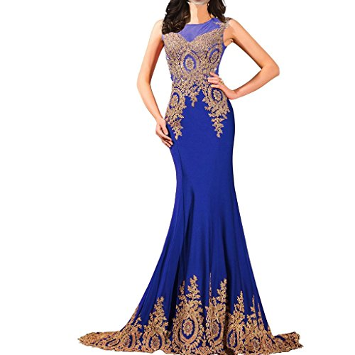 Lemai Shiny Crystals Long Mermaid Formal Prom Pageant Evening Dresses Gold Lace Sheer Royal Blue US10