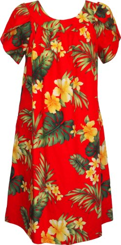 RJC Women's Tropical Summer Hibiscus Tea Length Hawaiian Muumuu House Dress Red XL