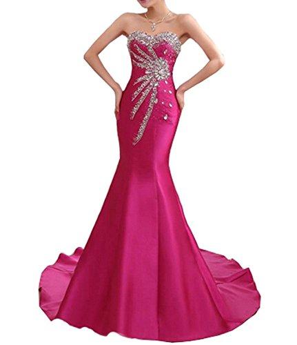 SDRESS Women's Beaded Rhinestones Sweetheart Lace-up Mermaid Formal Prom Dress Hot Pink Size 6