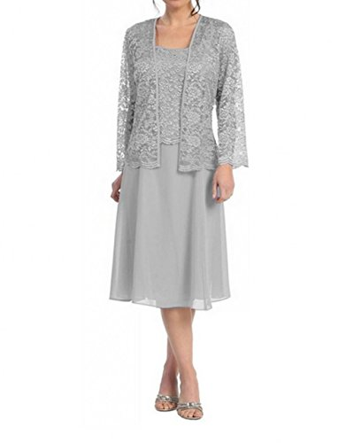 Love Dress Short Mother of the Bride Dress Formal Plus Size Lace Jacket Silver Us 18w